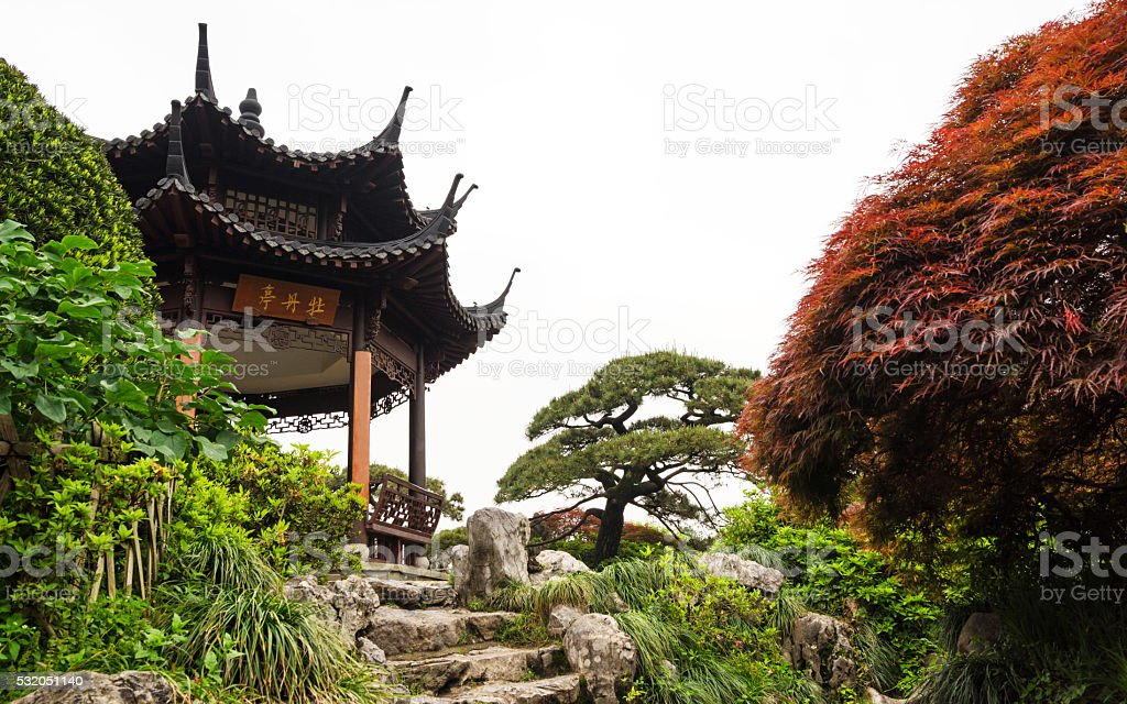 Chinese style pavilion in garden stock photo