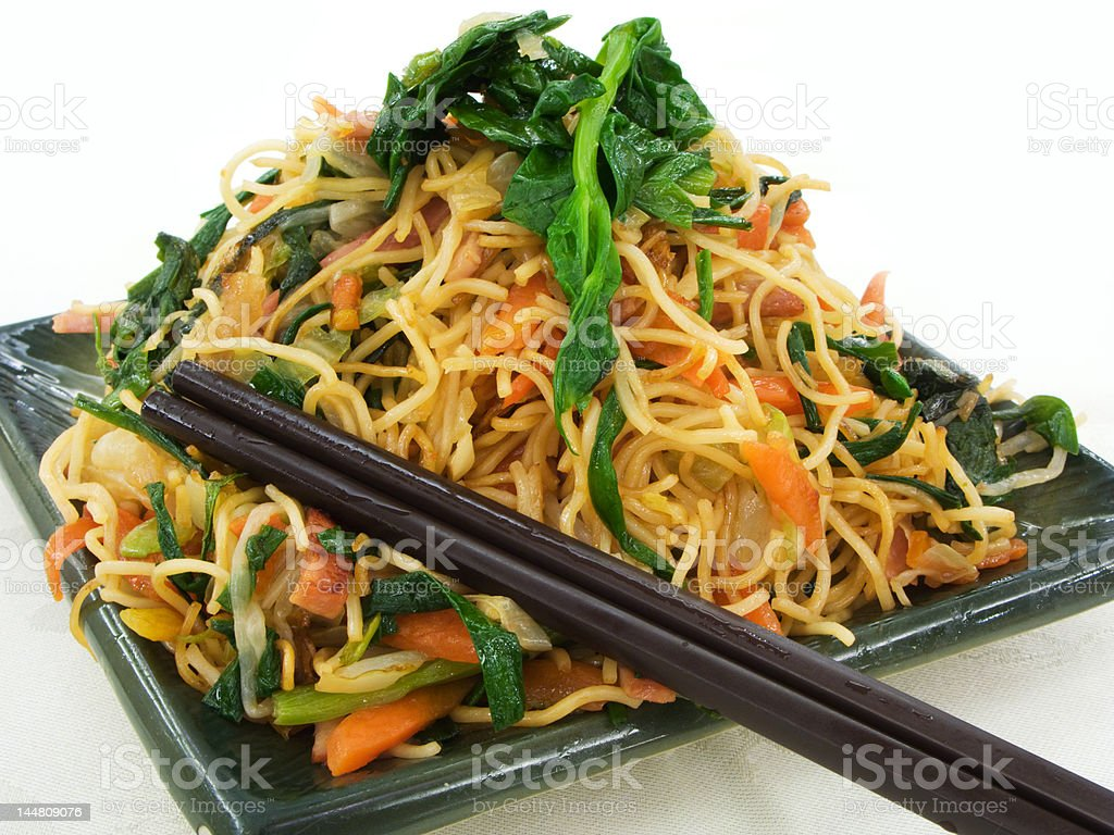 Chinese style vegetarian chop suey noodle dish royalty-free stock photo