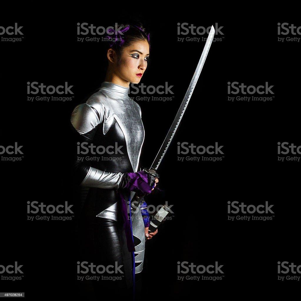 Chinese Superhero Warrior Woman With Katana Sword stock photo