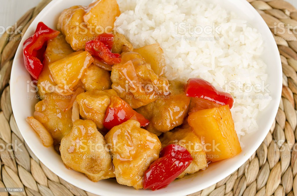 Chinese Sweet & Sour Chicken and Rice stock photo