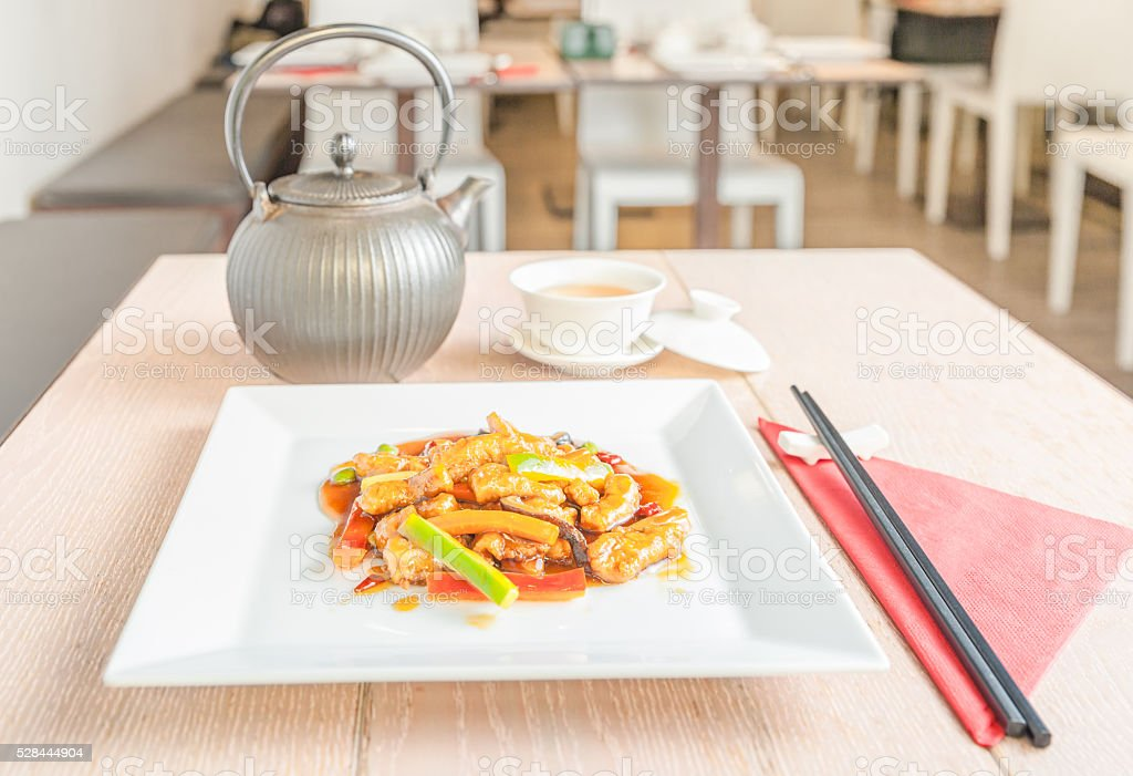 chinese sweet and sour pork stock photo