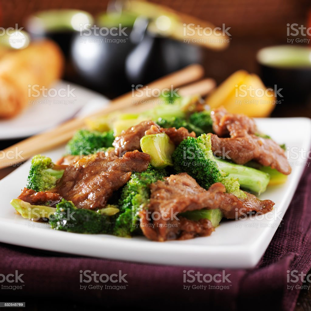 chinese take out beef and broccoli stir fry stock photo