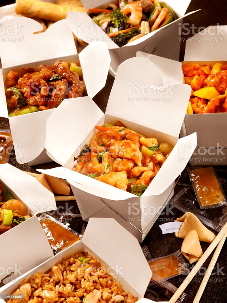 Chinese Take Out, Cashew Chicken and Vegetables stock photo