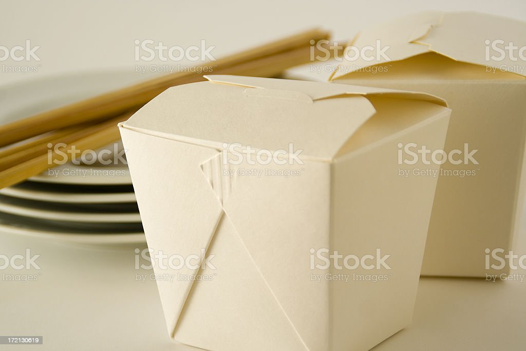 Chinese Take Out Container Box with Chinese Food Cusine royalty-free stock photo
