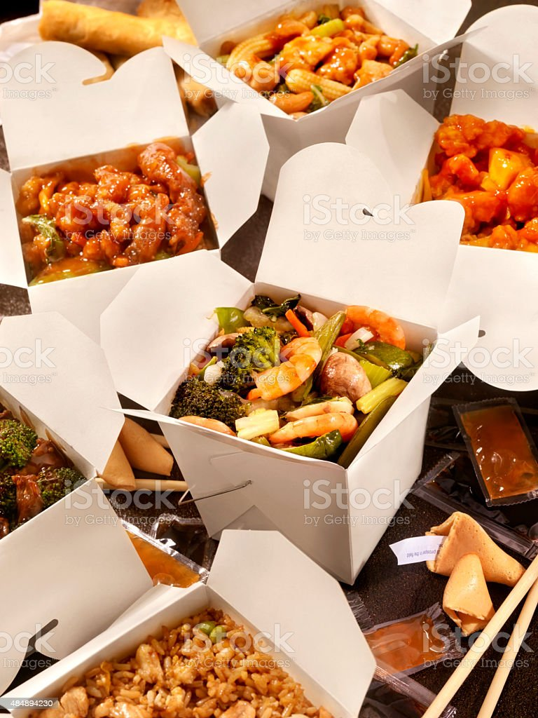 Chinese Take Out, Shrimp and Mixed Vegetables stock photo