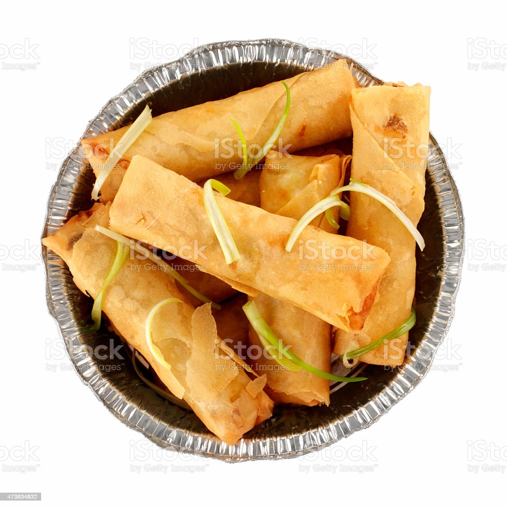 Chinese Take Out, Spring Rolls stock photo