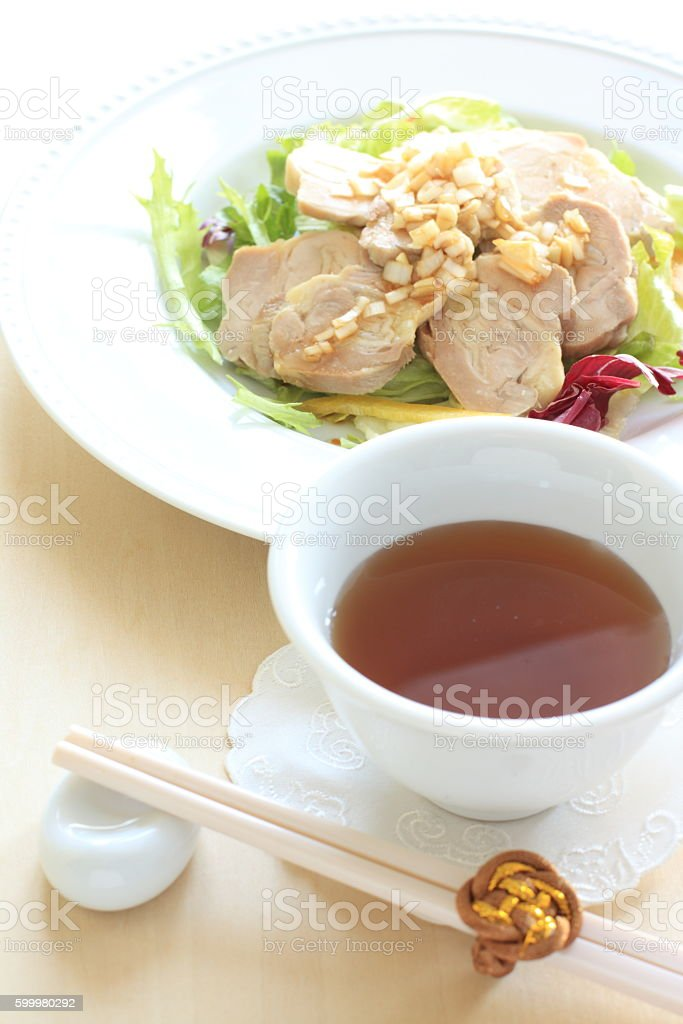 Chinese tea and chicken stock photo