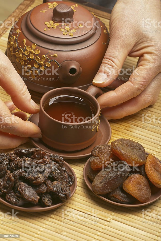 Chinese tea, and dried fruits royalty-free stock photo