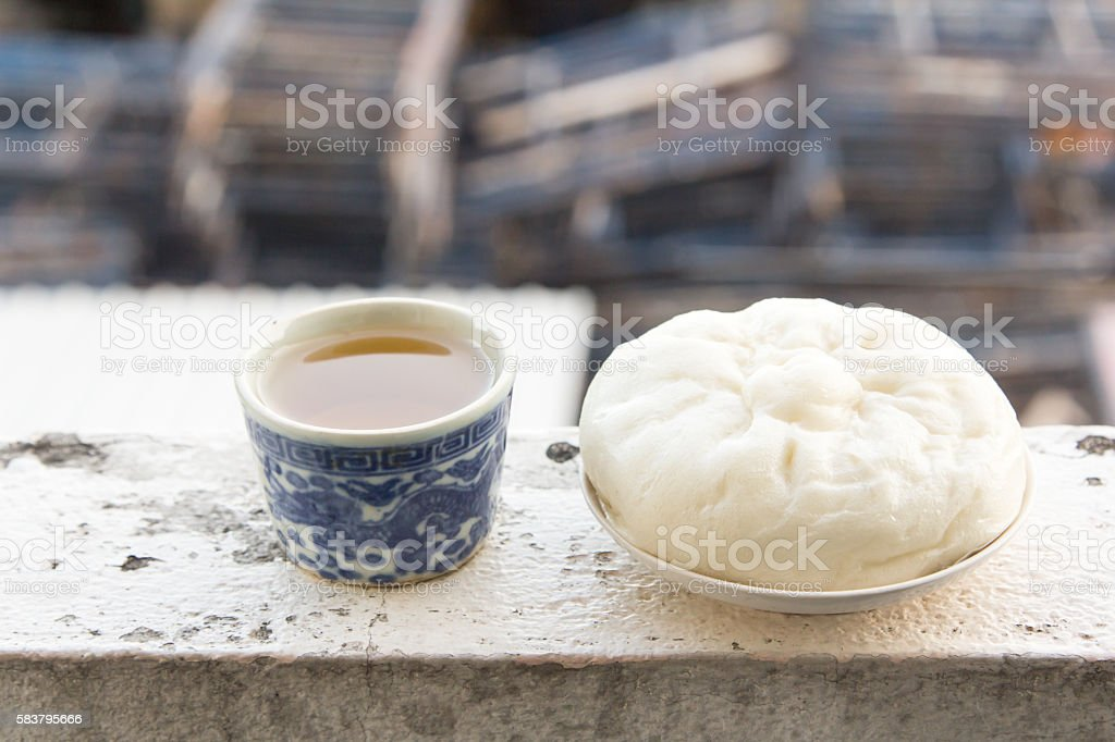Chinese tea and dumplings streamed. stock photo