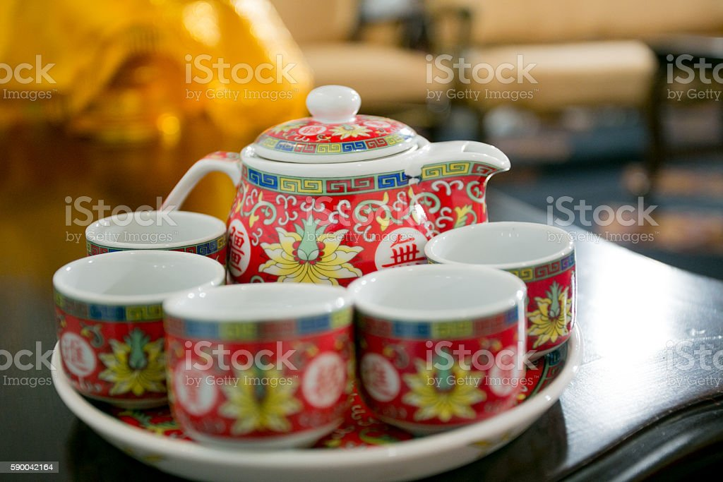 Chinese Tea Bowl in the chinese Wedding stock photo