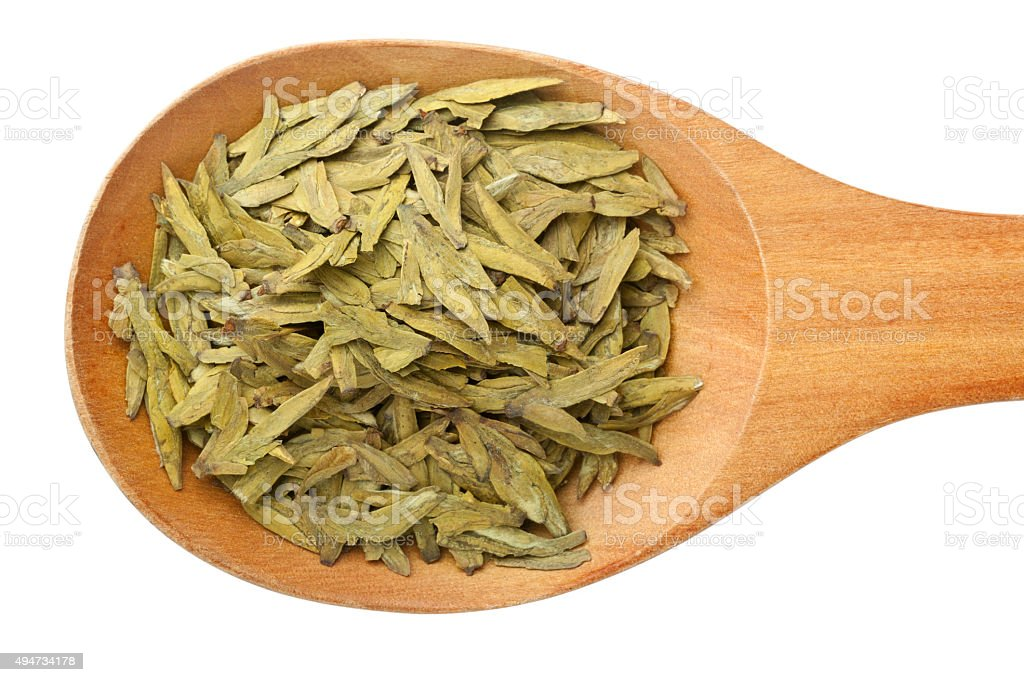 Chinese tea - Longjing tea leaves stock photo