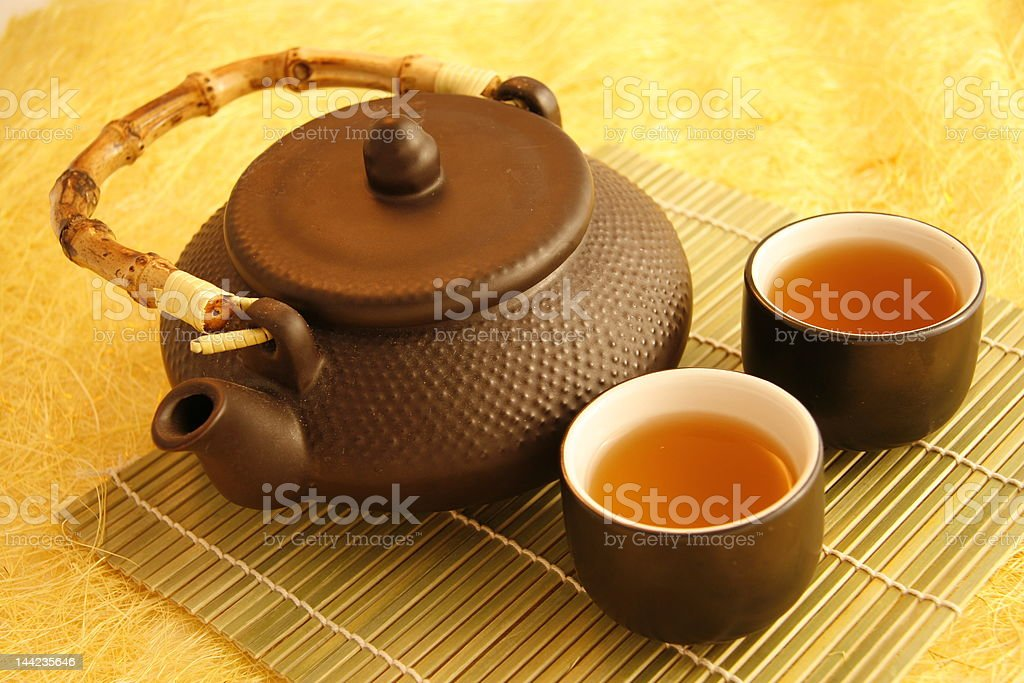 Chinese tea pot with cups royalty-free stock photo