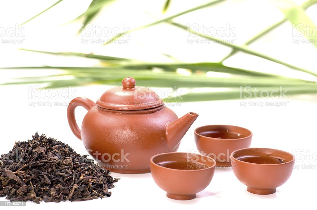 Chinese tea set in clay royalty-free stock photo