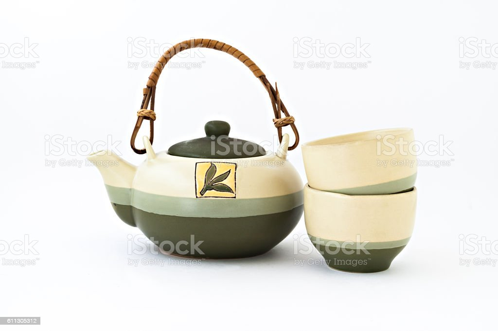Chinese tea set with cups of tea isolated stock photo