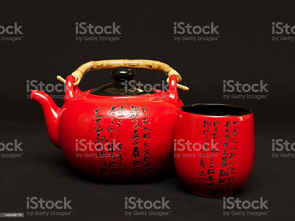 Chinese teapot with cup royalty-free stock photo