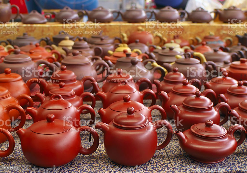 Chinese teapots. stock photo