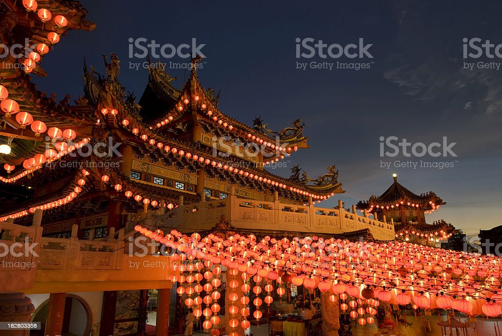 Chinese Temple - Evening scene royalty-free stock photo