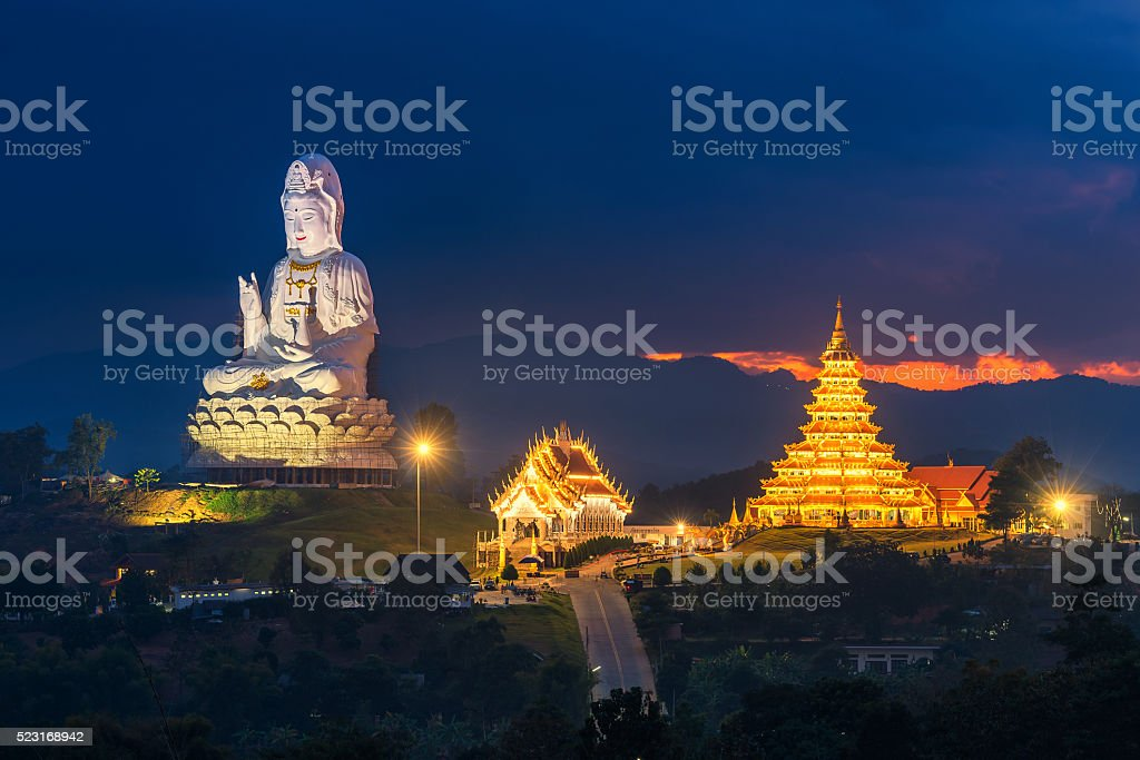 Chinese temple in Chiang rai, Thailand stock photo