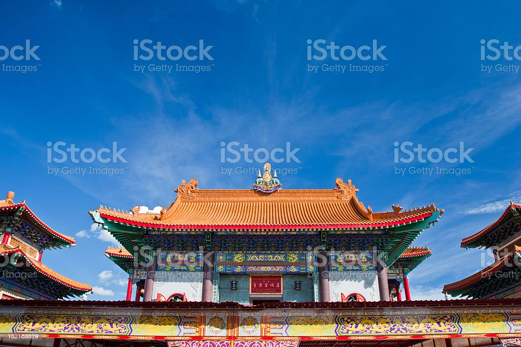 Chinese temple in day pretty sky Nonthaburi,Thailand royalty-free stock photo