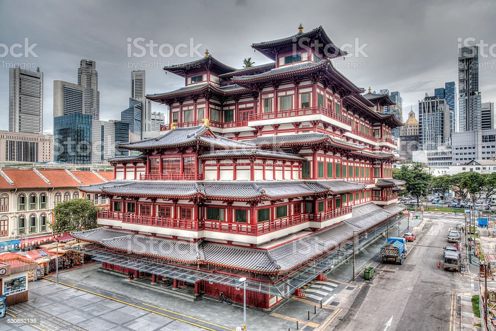 Chinese Temple in Singapore's Chinatown stock photo