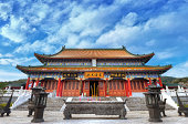 Chinese temple with beautiful blue sky background