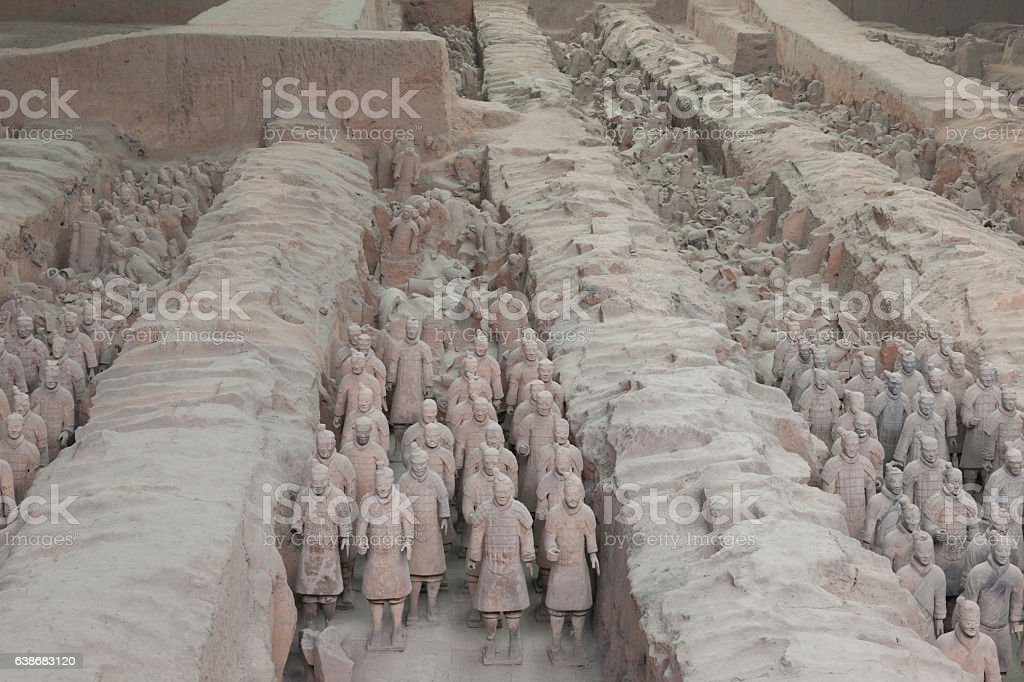 Chinese terracotta warriors to protect the emperor in his afterlife stock photo