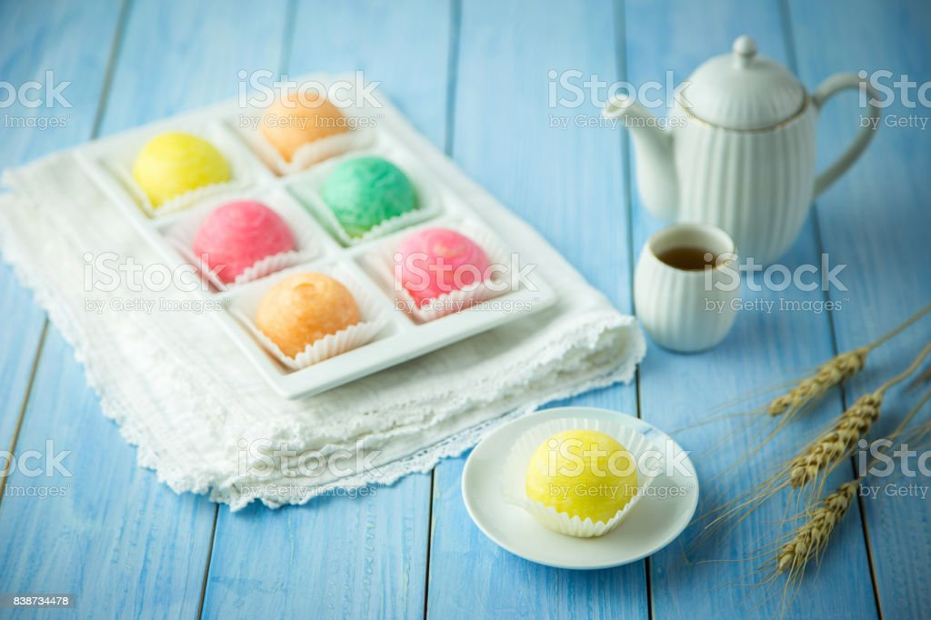 Chinese - Thai dessert Made from flour to Baking heat Mashed golden beans stuffed with salted egg yolk,Chinese festival , Traditional delicious cake in asia. stock photo