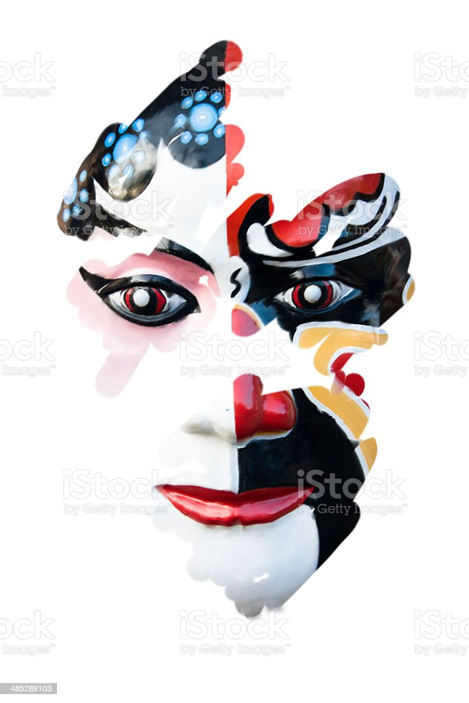 Chinese theater masks, Watercolor stock photo