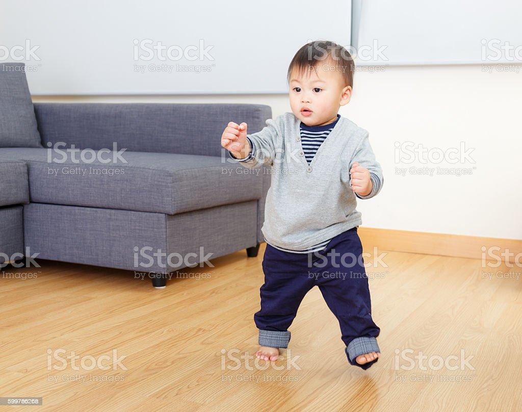 Chinese toddler walking stock photo