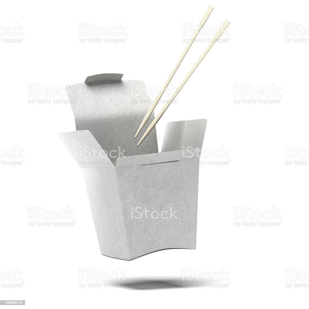 Chinese To-Go Box and Chopsticks royalty-free stock photo