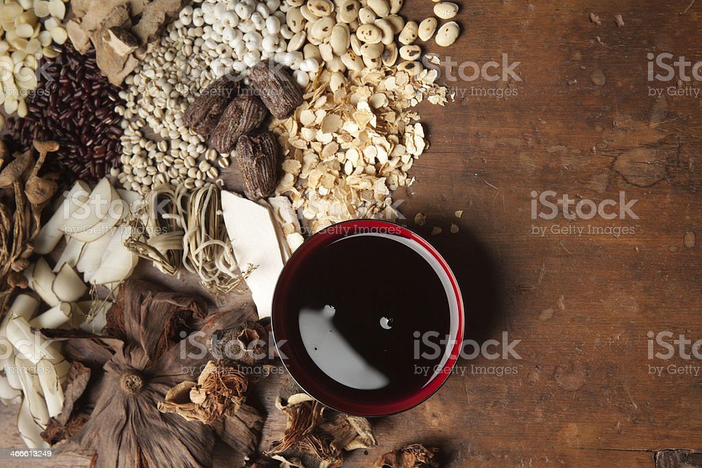 Chinese Tonic Tea from Herbal Medicine Hz stock photo