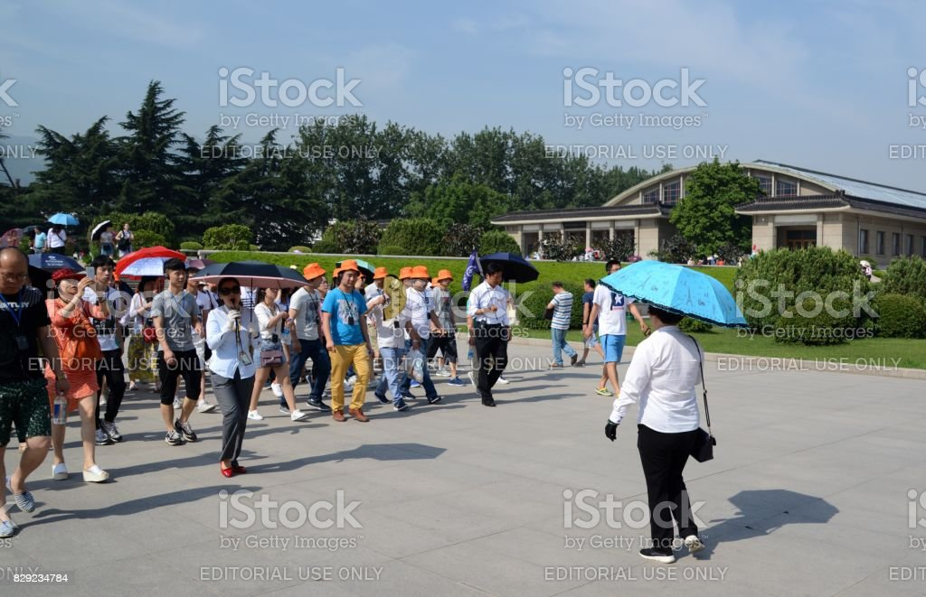Chinese tourist groups at Terracotta Army of Xi'an, Shaanxi, China stock photo