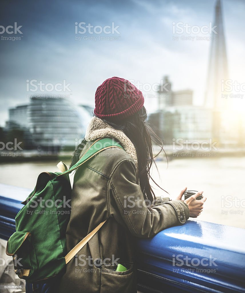 chinese tourist in london observing the skyline stock photo