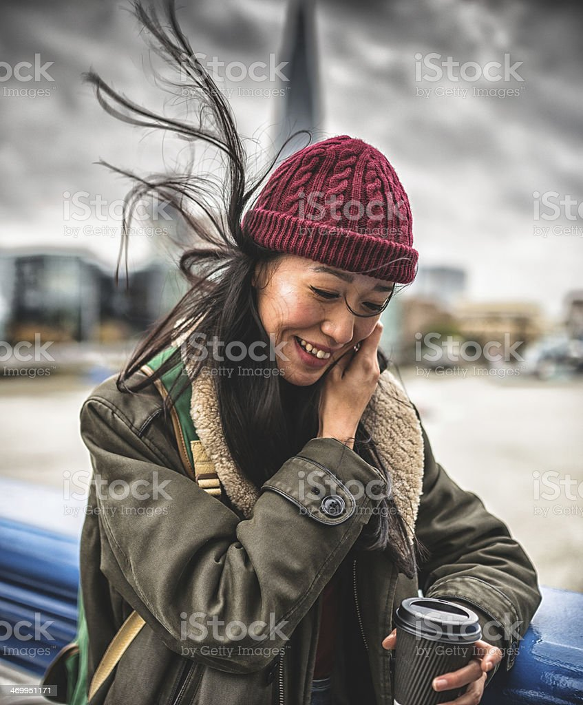 chinese tourist in london waving the hair royalty-free stock photo