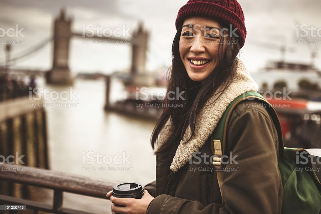 chinese tourist smiling in London stock photo