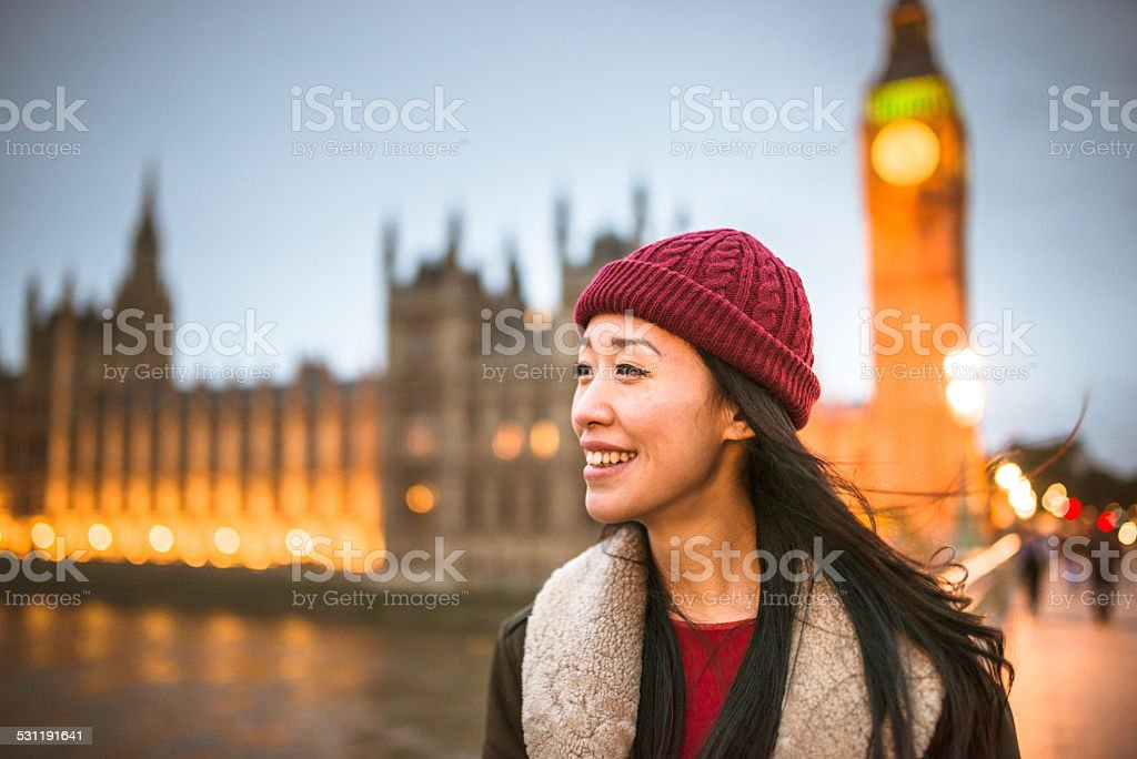chinese tourist woman walking on the streets of london stock photo