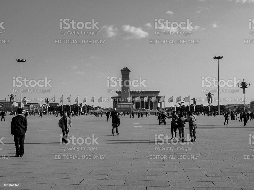 Chinese tourists at Tiananmen Square in Beijing stock photo