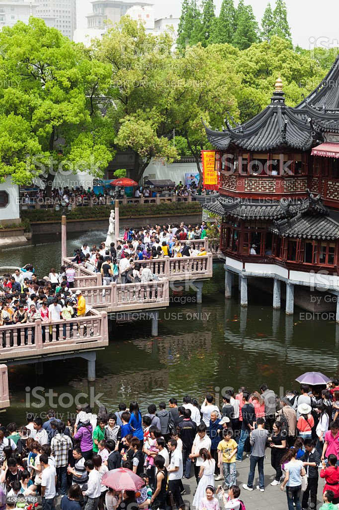Chinese tourists at Yu Garden, Shanghai, China royalty-free stock photo