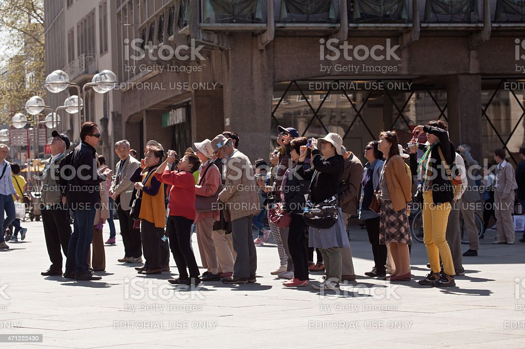 Chinese Tourists in Cologne stock photo