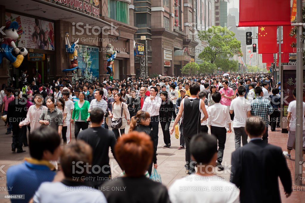 Chinese tourists in Shanghai, China royalty-free stock photo