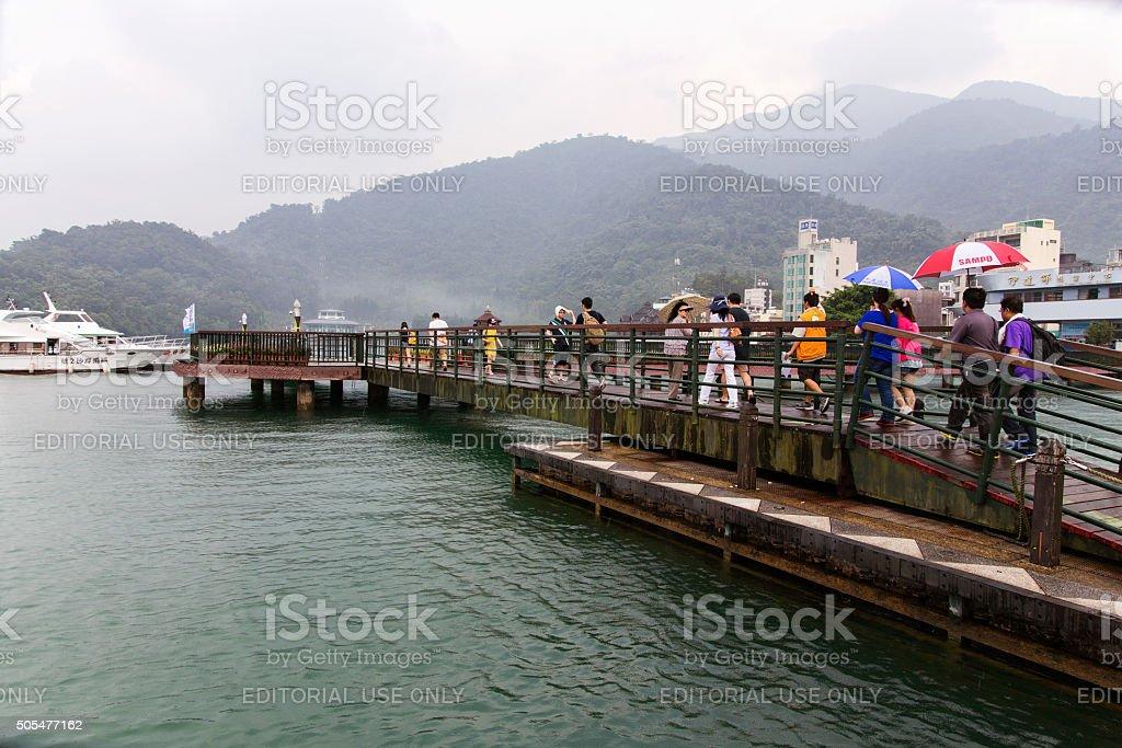 Chinese tourists in Sun Moon lake stock photo