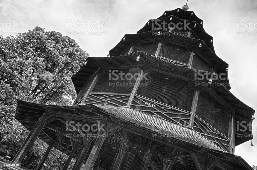 Chinese Tower in English garden royalty-free stock photo