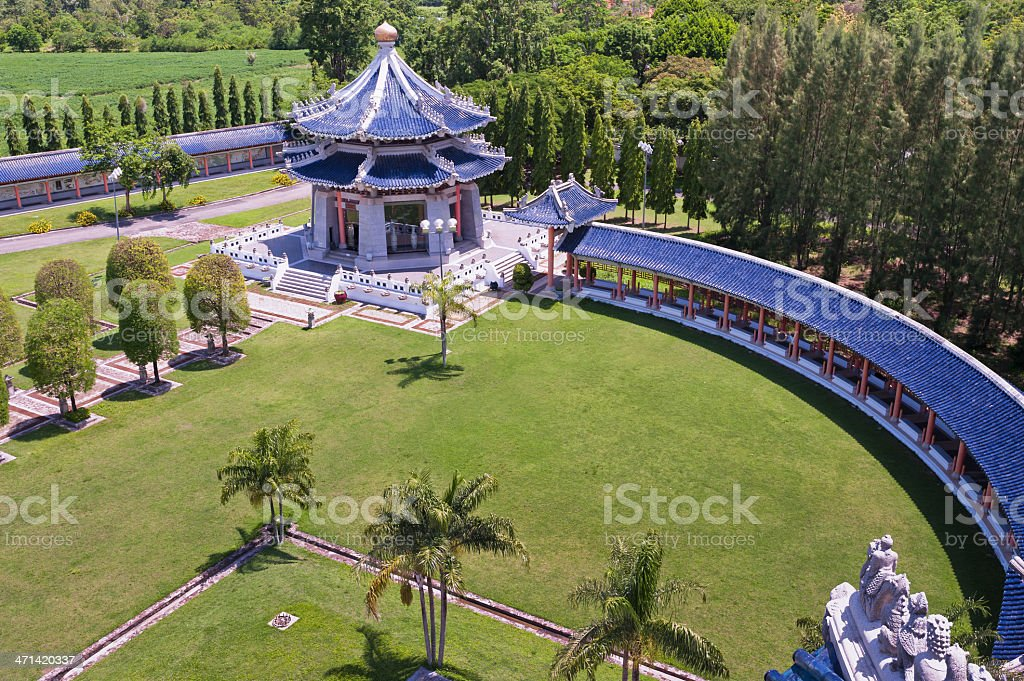 Chinese tower in the three kingdoms park stock photo