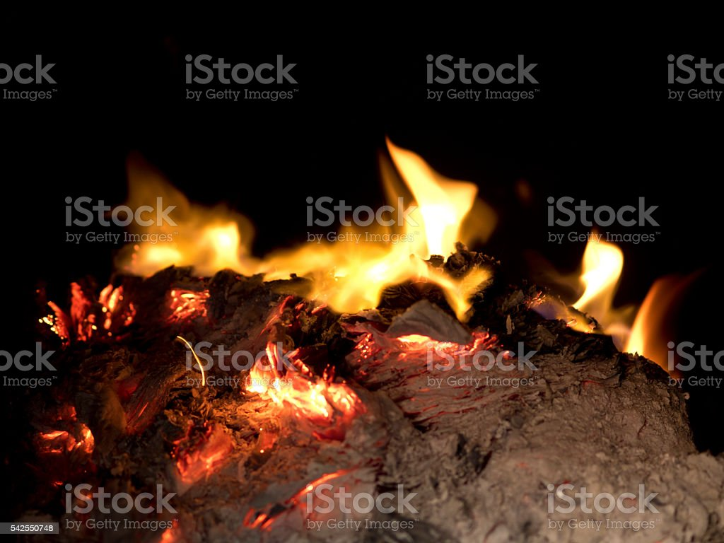 chinese tradition of  burning ghost money stock photo