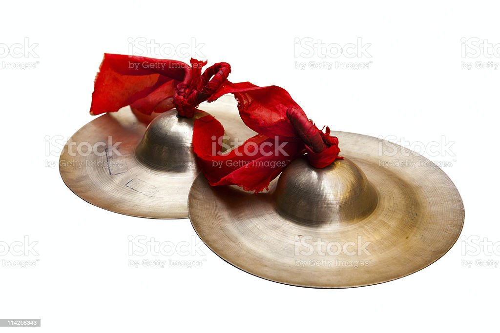 Chinese tradition percussion instrument - China small cymbals stock photo