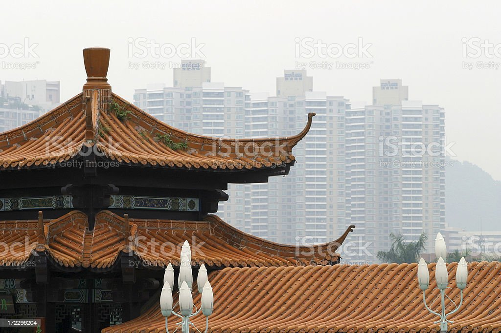 Chinese traditional and modern architecture stock photo