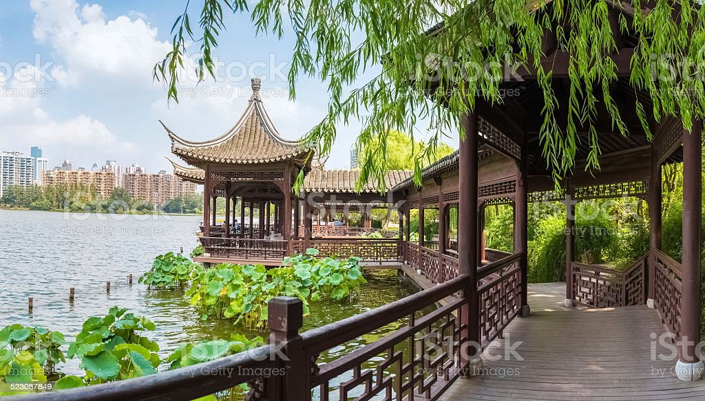 chinese traditional corridors in the lake stock photo
