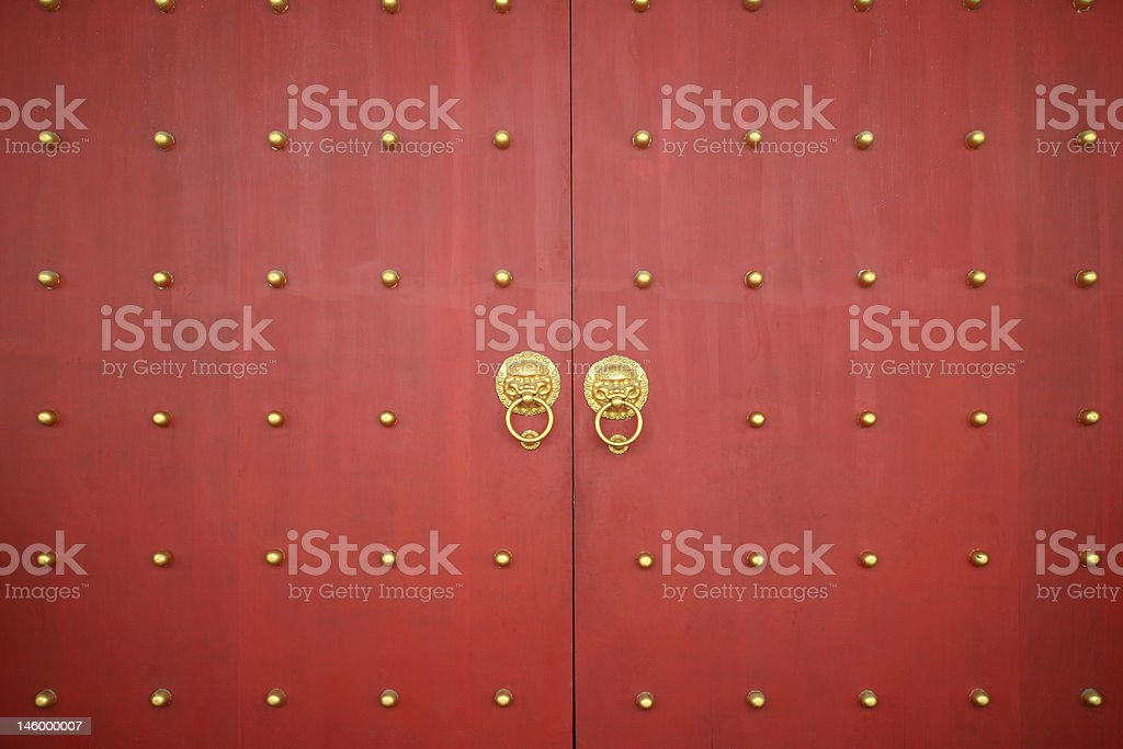 Chinese Traditional Crimson Wooden Door royalty-free stock photo