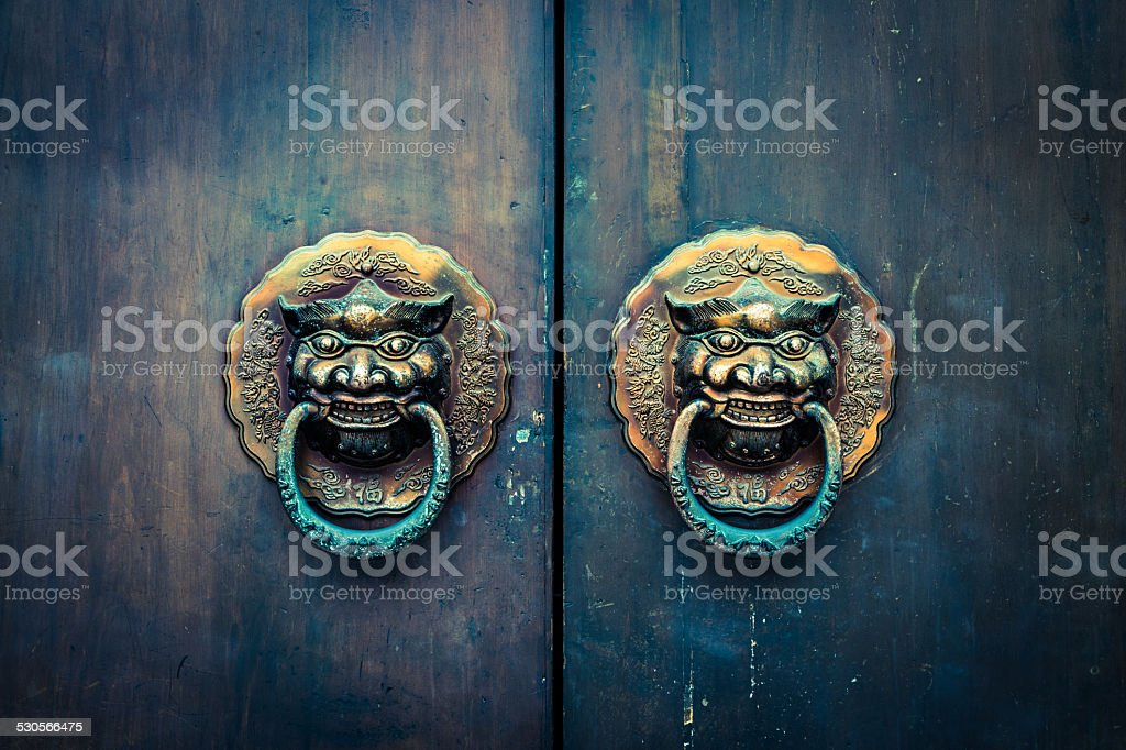 chinese traditional door and knocker stock photo