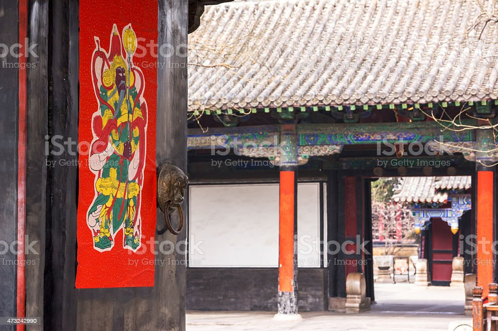 Chinese traditional door god painting stock photo